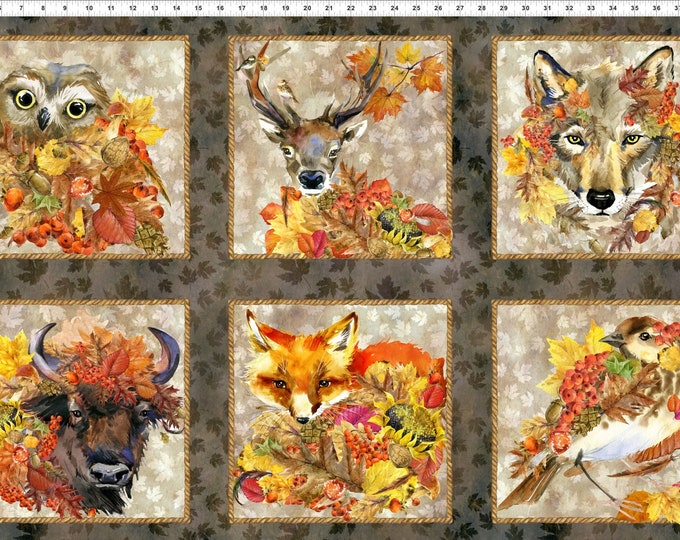 Featured listing image: Autumn Fabric - Animal Patch Panel  - Our Autumn collection - In The Beginning Jason Yenter 1OAF 1 - Priced by the 24-Inch Panel