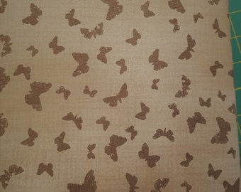Butterfly Fabric - Field Guide Fabric -  Nature Flutterby - Janet Clare for Moda Fabrics 1364 15 Flaxin Taupe Brown - Priced by the 1/2 yard