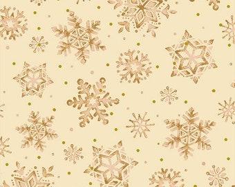 Christmas Star Snowflakes - Seasons Greetings - Paintbrush Studio 13018 00803 Beige - Priced by the half yard