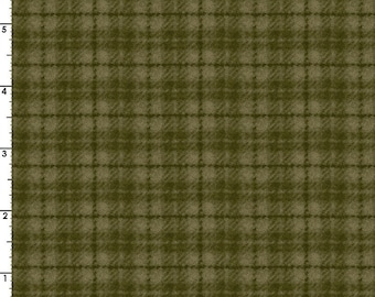 Plaid Flannel - Woolies Flannel Fabric - Bonnie Sullivan for Maywood Studios - Green F18502 G - Priced by the 1/2 yard