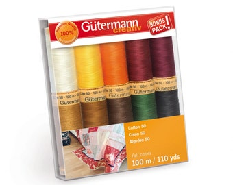 Gutermann 50wt Cotton Thread Collection - 10 spool 110yd (100m) per spool - Autumn Colors 734016-2
