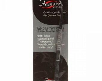 Famore Cutlery Fine Tip Angled Tweezers - Serger Tweezers - Needle Threader - 6 inch