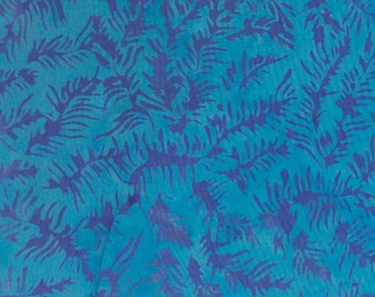 Small Fern Batik Fabric - Artisan Indonesian from Majestic Batiks - D 315 W Blue, Priced by the 1/2 yard