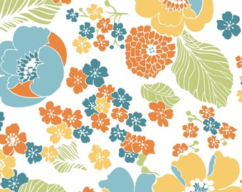 Carnaby Street Full Blooms Spring Floral - Maywood Studio - MAS 9620 UW Ultra White - Priced by the 1/2 yard