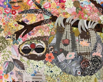 """Sloth Collage - Laura Heine Applique  Cloth Sloth Pattern 27""""x39"""" - DIY Pattern Or Kit Option - full size reusable template"""