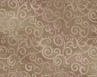 Ombre Scroll Quilting Treasures - 24174 AK Taupe - Priced by the Half Yard