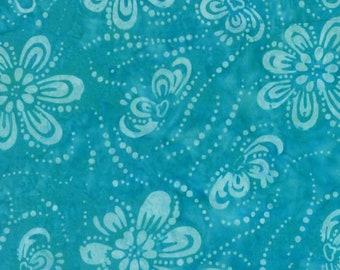 Blue Batik - Floating Flower - Wilmington -  22233 444 Aqua - Priced by the half yard