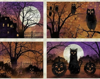 Frightful Night - Cat Haunted House Owl - Wilmington Prints - 20502 986 Placemat - Priced by the Panel - Bonus Tote Pattern