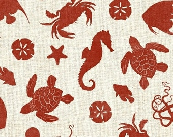 Nautical Fabric - Crab Turtle Sea Horse - Hidden Cove Sea Emblems - Sue Schlabach - Windham - 40431 Red - Priced by the 1/2 yard