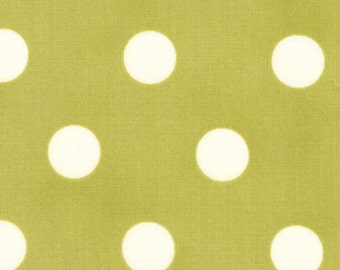 Polka Dot Fabric - Dottie Basic Dots by Moda Fabrics 45008 34 Moss - Priced by the 1/2 yard