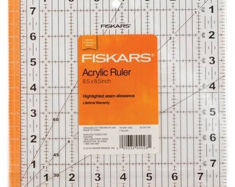 Fiskars Square Ruler - 8.5 Inch - Highlighted Seam Allowance - Acrylic 187200-1001 - Sold by the Each