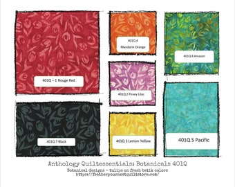 Batik Fabric - Quiltessentials: Botanicals 401Q - Tulip Design - Choose color -  Priced by the 1/2 yard
