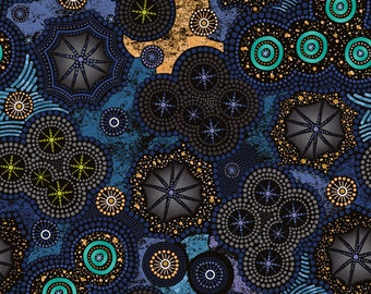 Celestial Fabric - Paintbrush Studio - Walkabout II Milky Way 120 14362 - Priced by the half yard