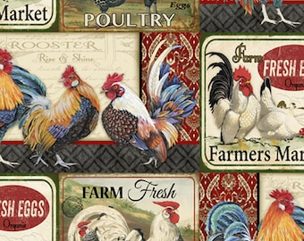 Farm Life - Farm Fresh - Rooster and Chicken - David Textiles 3592 8C-  - Priced by the 1/2 yard