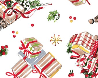 All the Trimmings Presents - Gifts Grouping - Greenery - Maywood Studios MAS 9371 White - Priced by the 1/2 yard