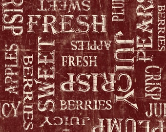 Word Fabric - From the Market Tossed Words- Janet Pugh for Wilmington Q1825-82421-331 Red - Priced by the 1/2 yard