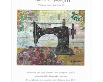 """Featherweight Collage - Laura Heine - Fusible Applique - Sewing Machine 26x32"""" - DIY Pattern Or Kit Option - full size reusable template"""