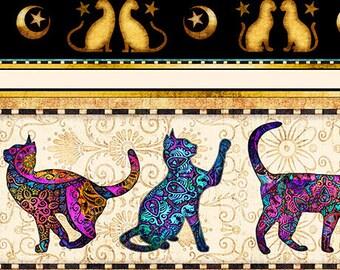 Cat Fabric - Jewel Cats - Purr-Suasion - Dan Morris Quilting Treasures - Border Stripe 26643 - Priced by the half yard