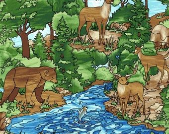 Deer Bear Forest Creek Fish - Forest Scene - Mosaic Forest by Studio e Fabrics - 4192 76 Green - Priced by the half yard