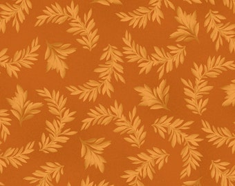 Leaf Fabric - Tonal Leaves Blender Fabric - Fruitful Life by Maywood Studios MAS 9325 Orange - Priced by the 1/2 yard