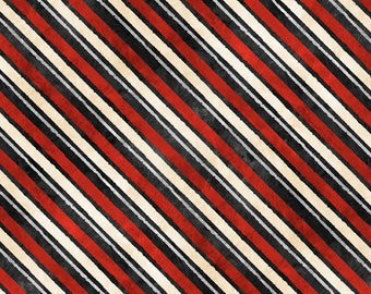 Time for Hot Cocoa Fabric by Conrad Knutsen for Wilmington - Diagonal Stripe Fabric - 30528 939 - Red Black - Priced by the Half Yard