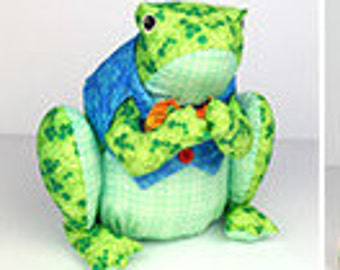 Frog Pillow - Stuffables - Sew & Go, Quilting Treasures 26388 - Sold by the Panel - DIY stuffed animals, stuffed frog