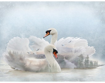 """Swan Lake - Call of the Wild - Hoffman - 4810-311 - Priced by the 30"""" x 44"""" Panel"""
