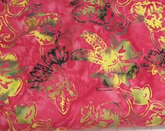 Abstract Floral Batik Fabric - Artisan Indonesian from Majestic Batiks - SG D064 Red, Priced by the 1/2 yard