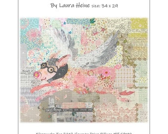 "Pig Collage - Laura Heine - Applique Quilt - Aviatrix Flying Pig Pattern 34""x24"" - DIY Pattern Or Kit Option - full size reusable template"