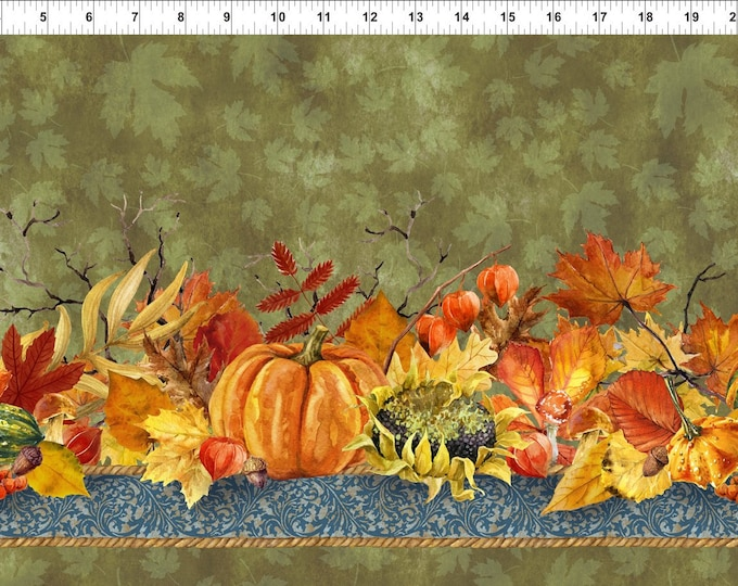 Featured listing image: Pumpkin Fabric - Pumpkin Patch - Border Stripe - Our Autumn collection - In The Beginning Jason Yenter 2OAF 2 Olive - Priced by the 1/2 yard