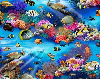 Underwater Fantasy by Thomas Wood for P&B Textiles - Tropical Fish Fabric - UNDF 4280 - Priced by the half Yard