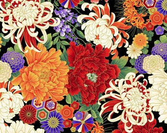 Metallic Floral Fabric - KOKO by Chong-a Hwang for Timeless Treasures -  CM 7874 Red - Priced by the Half Yard