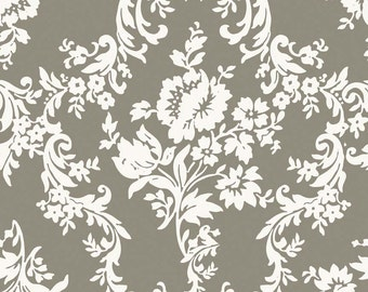 Damask Print Fabric - Found Damask from Lost and Found 2 by My Mind's Eye for Riley Blake C3692 Taupe Gray - Priced by the 1/2 yard