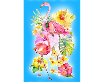 Flamingo Fabric - Flamingos in Paradise by Sykel Enterprises - 10290 -  Priced by the 24-Inch panel