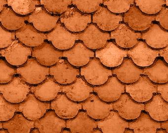 Croatia - Tile Roof - Ro Gregg - Paintbrush Studio - 120 99672 Orange - Priced by the 1/2 yard