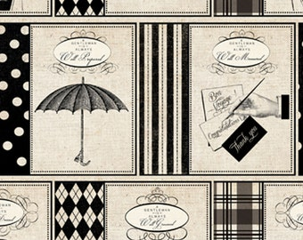 Gentleman Fabric - Madame et Homme by Pela Studios for David Textiles 3136 3C Cream - Priced by the 1/2 yard
