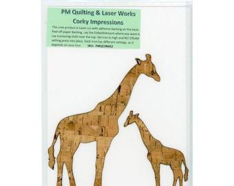 Giraffe Cork - Laser cut Natural Cork Fabric - PMQ Corky Impressions - Fusible backing - 2 items per package