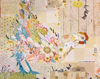 """Chicken Collage - Laura Heine Henrietta - Applique Quilt - Chicken Pattern 29""""x30"""" - DIY Pattern Or Kit Option - full size reusable template"""