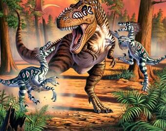 Dino Battle - Aboriginal Dinosaur - Four Seasons David Textiles - JQ00860C1 - Priced by the 36-Inch panel
