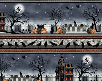 Spooky Night - Spooky Night Border - Grace Popp for Studio E - 5727 93 - Priced by the 1/2 yard