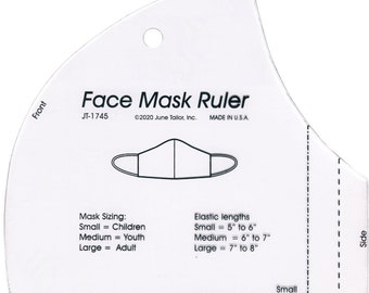 """Face Mask Template Ruler - June Tailor Ruler Acrylic - 6""""x6"""" -  Made in the USA - DIY Project"""