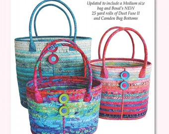 Camden Bag  by Aunties Two -  # AT285  - Updated Pattern includes 3 sizes of Bag - DIY Pattern - Uses Bosal Duet Batting Roll