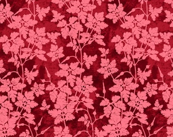 Leafy Floral Fabric - Vine Fabric from Bright & Early for Wilmington Prints - 64763 333 Maroon-Pink - Priced by the 1/2 yard