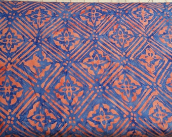 Geometric Floral Batik Fabric - Artisan Indonesian from Majestic Batiks - D265 W - Blue, Priced by the 1/2 yard