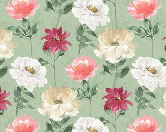 Spring Florals - All you Need is Love by Beth Grove for David Textiles 5911 3 Sage - Priced by the 1/2 yard