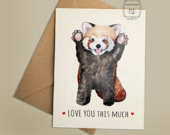 Love You This Much_Thinking Of You Card_ Miss You Card_Love Card_Printable Card_Cute Baby Red Panda Card