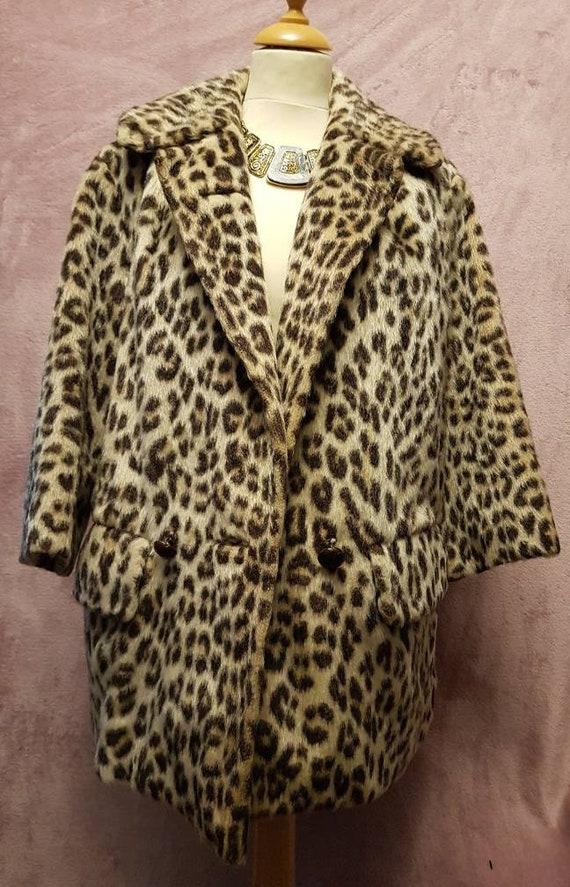 1960s faux leopard skin coat