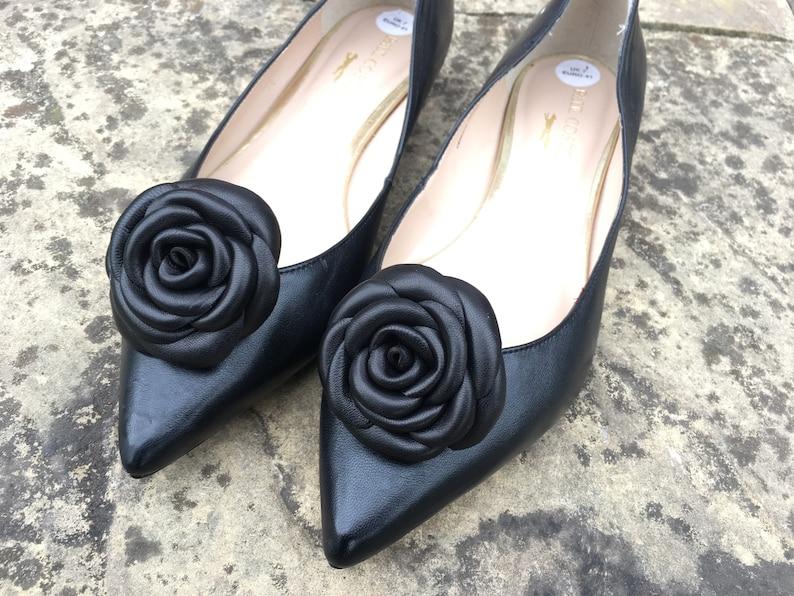 7e83ca7d5ba Shoe clip flower Leather flowers Black Roses Shoes Clips Real leather Black  Flowers Roses Shoe Clip Flower Accessories