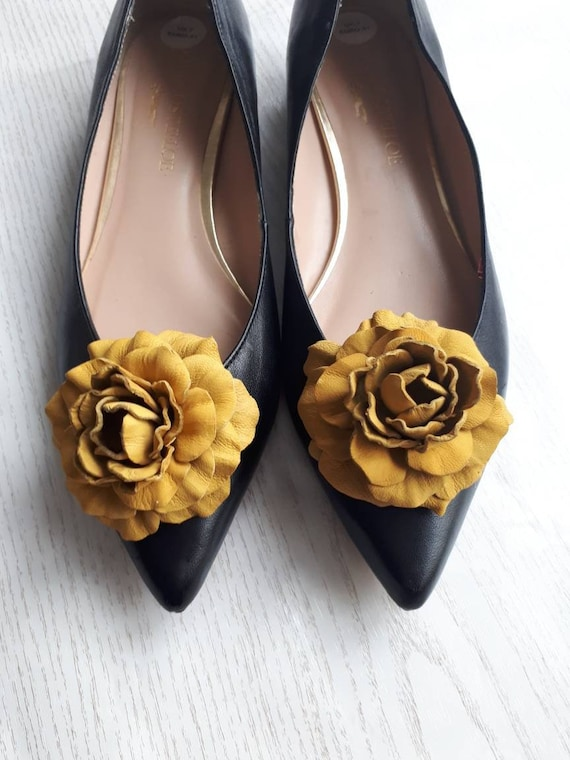 Leather flower shoe clips and or brooch Yellow brown shoe jewelry shoe clips Yellow flower Shoe Clips genuine leather shoe clips