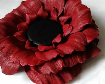 Flower leather brooch, Red and Black flower brooch , Flower  brooch, Brooch leather, Accessory women,  Gift idea, Brooch flower